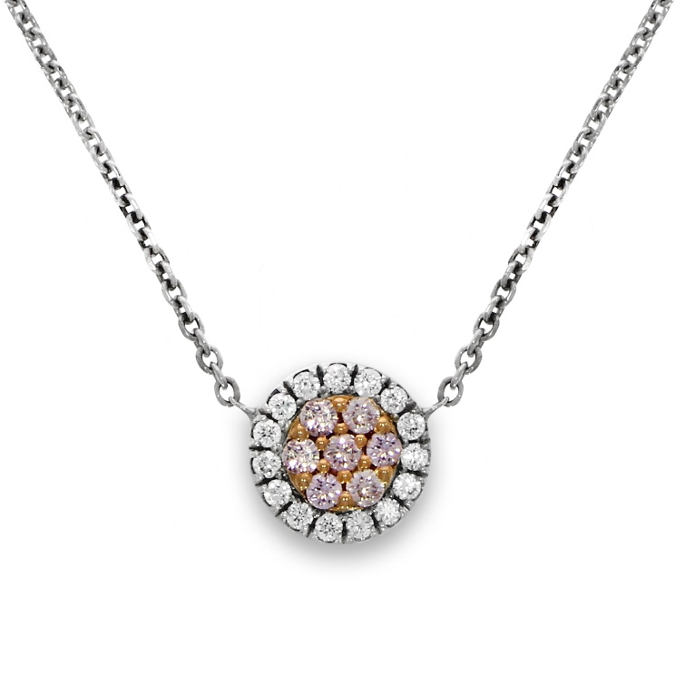 """18ct White And Rose Gold Natural Pink Diamond """"Touch of Pink"""" Cluster Pendant"""