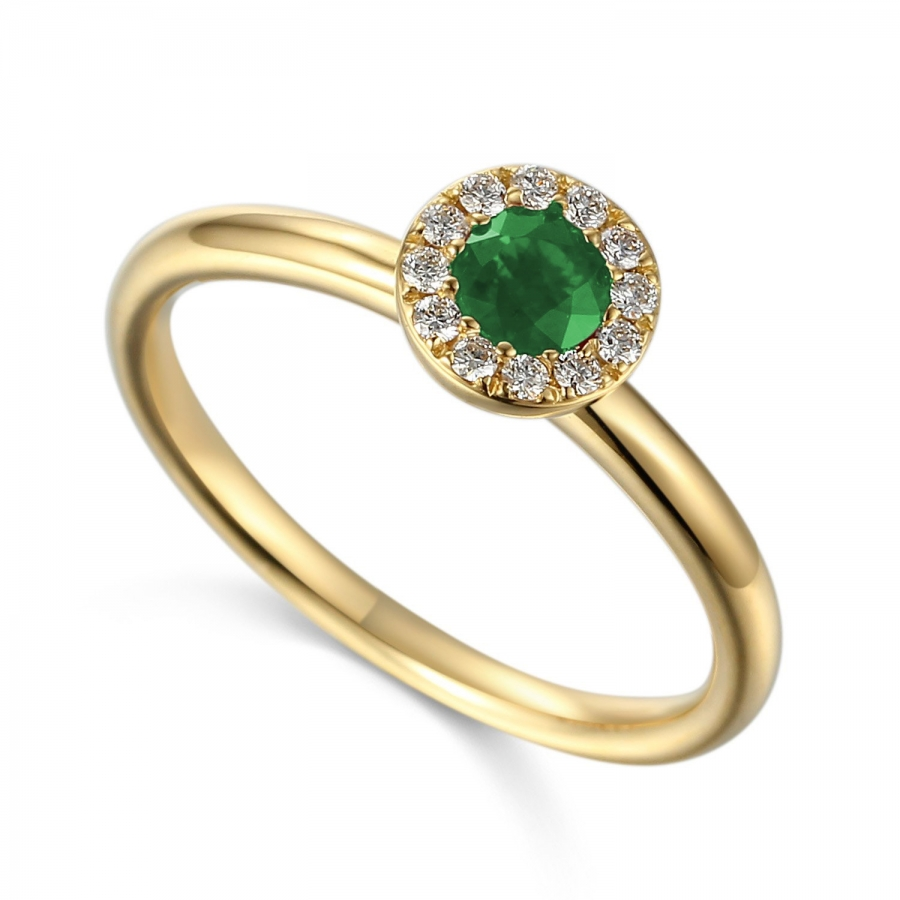 18ct Yellow Gold 0.18ct Emerald And Diamond Halo Daisey Ring