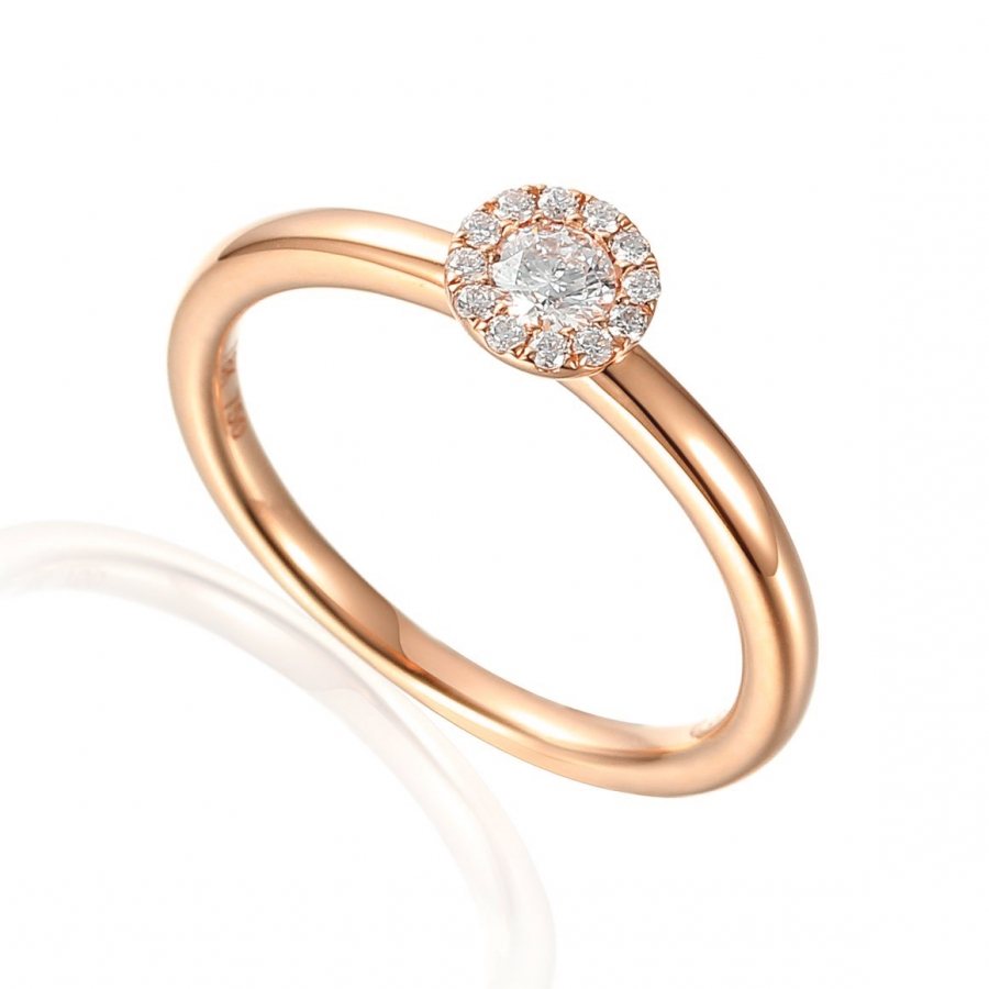 18ct Rose Gold 0.22ct Brilliant Cut Diamond Halo Daisey Ring