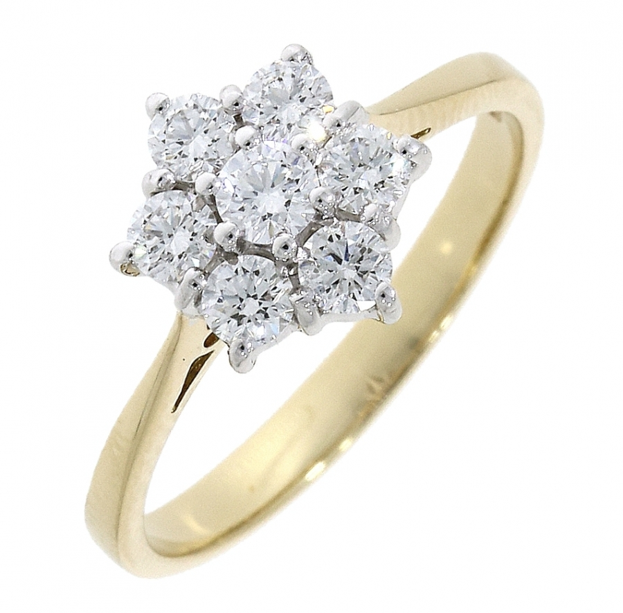 18ct Yellow Gold 0.54ct Diamond Cluster Ring