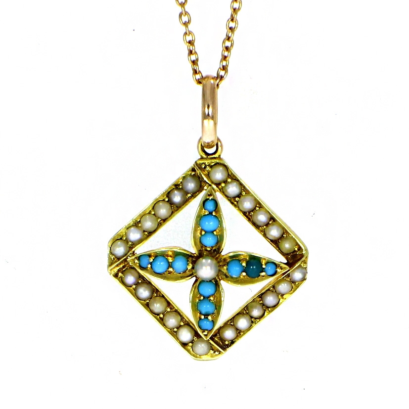 Pre Owned: 15ct Yellow Gold Antique Turquoise and Seed Pearl Pendant