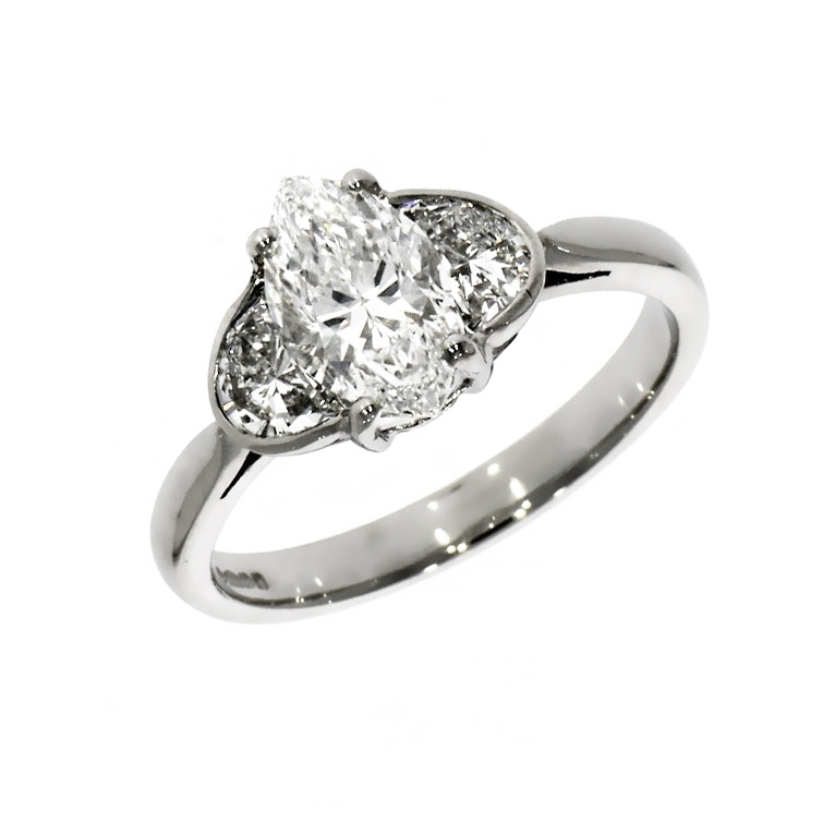 Pre Owned: Platinum 1.14ct Marquise Cut Diamond Ring With Half Moon Cut Diamond Boarder