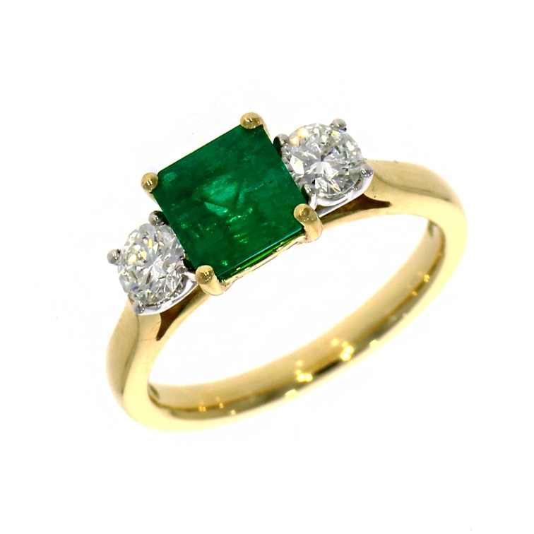 18ct Yellow Gold Square Cut Emerald And Diamond Three Stone Ring