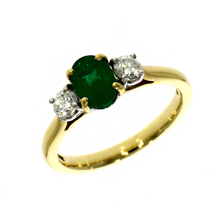 18ct Yellow Gold Oval Cut Emerald And Diamond Three Stone Ring