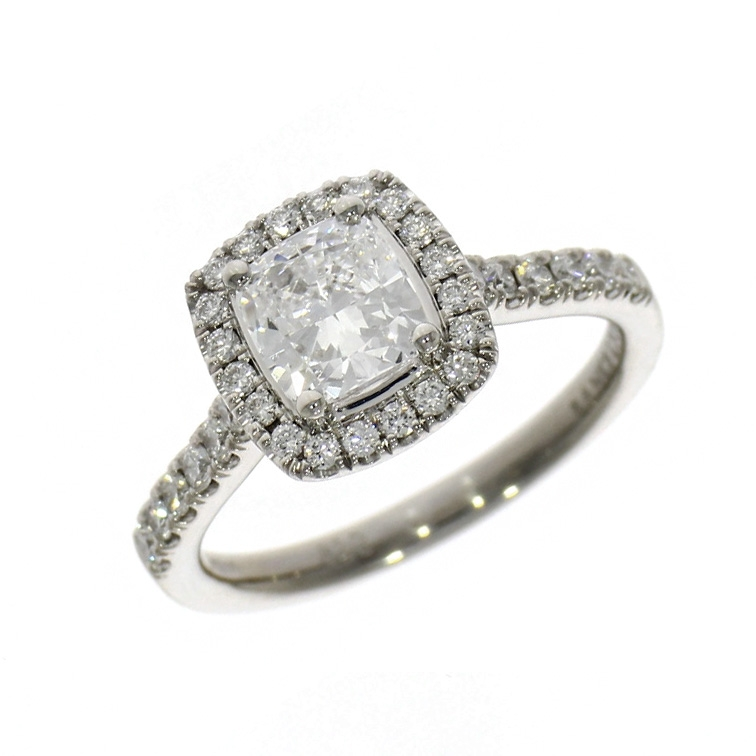 Pre Owned: Platinum 1.30ct Cushion Cut Skye Halo Ring
