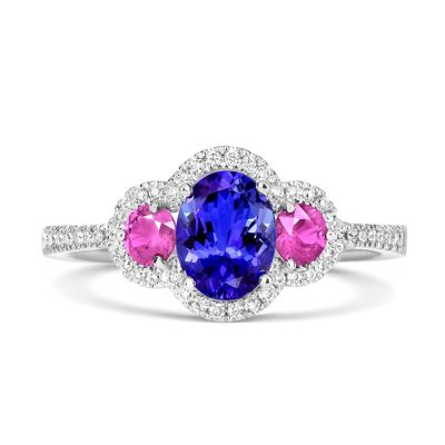 18ct White Gold Tanzanite and Pink Sapphire Diamond Ring
