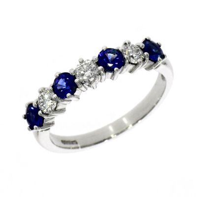 18ct White Gold Diamond and Sapphire Eternity Ring
