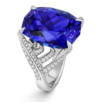 A One-Off THE EAGLE'S NEST 18ct White Gold 24.43ct Tanzanite and Diamond Dress Ring