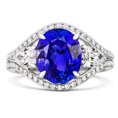 18ct White Gold Tanzanite and Diamond Art-Deco Dress Ring