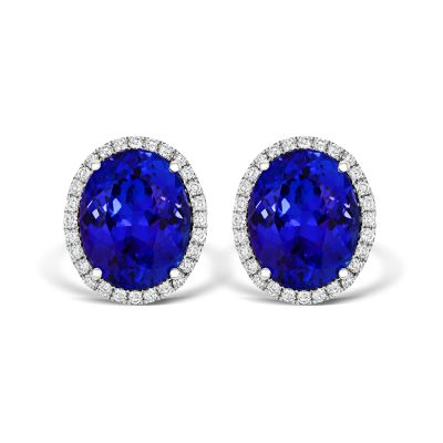 18ct White Gold 4.12ct Oval Tanzanite and Diamond Halo Stud Earrings