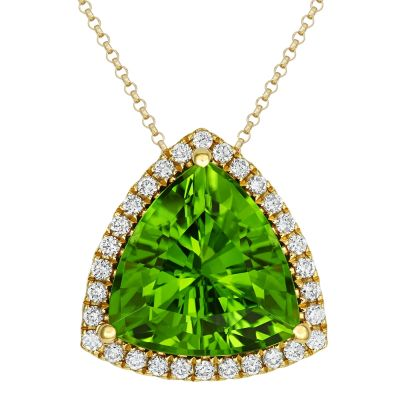 18ct Yellow Gold 7.49ct Peridot and Diamond Pendant