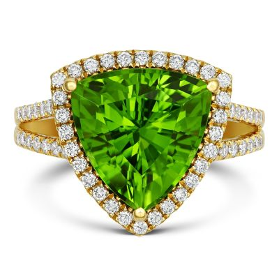 18ct Yellow Gold 5.77ct Peridot and Diamond Halo Cocktail Ring