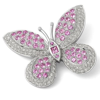 18ct White Gold pink Sapphire and Diamond Butterfly Brooch
