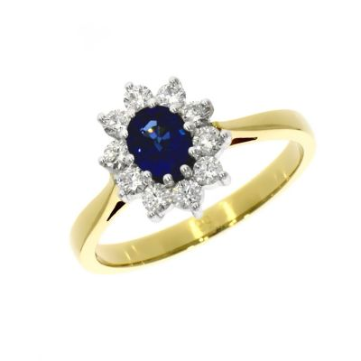 18ct Yellow Gold 0.56ct Sapphire and Diamond Cluster Ring