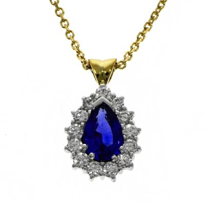 18ct Yellow & White Gold Pear Cut Sapphire and Diamond Pendant
