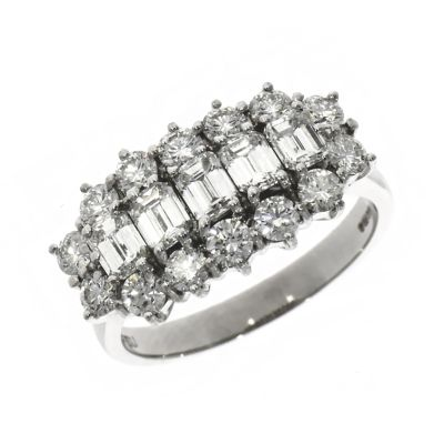 18ct White Gold Baguette And Brilliant Cut Diamond Cluster Ring