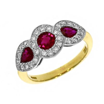 18ct Yellow Gold Ruby and Diamond Halo Cluster Ring