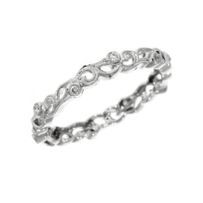 18ct White Gold Very Narrow Floral Dress Ring