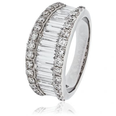 18ct White Gold 2.00ct Baguette and Brilliant Cut Diamond Ring