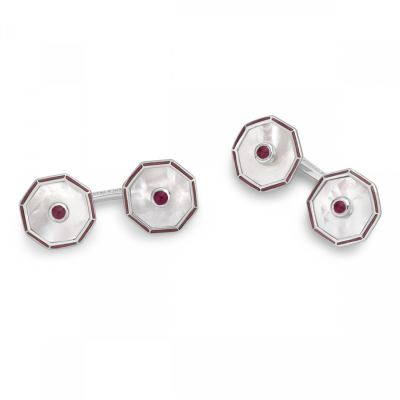 Deakin & Francis Octagonal Cufflinks with Mother of Pearl and Ruby