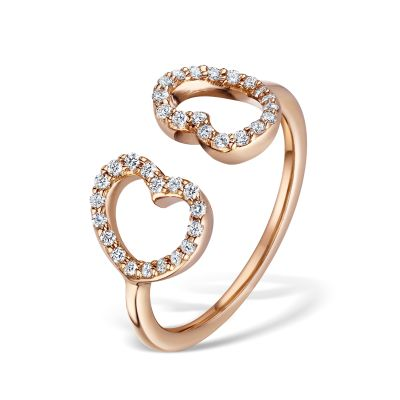 18ct Rose Gold Diamond Set Double Heart Dress Ring