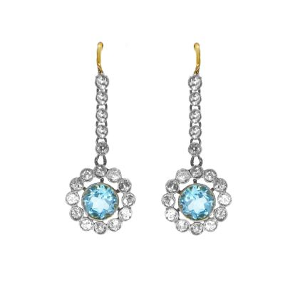 Pre Owned: 18ct Gold Aquamarine And Diamond Cluster Drop Earrings