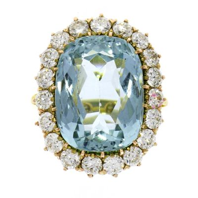 Pre Owned: 18ct Yellow Gold Aquamarine And Diamond Dress Ring