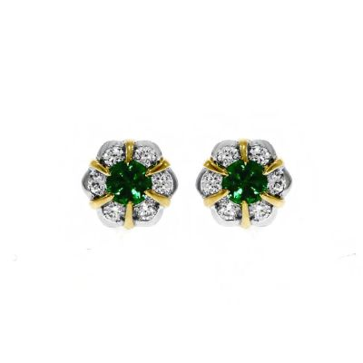 18ct White & Yellow Gold Emerald And Diamond Stud Earrings