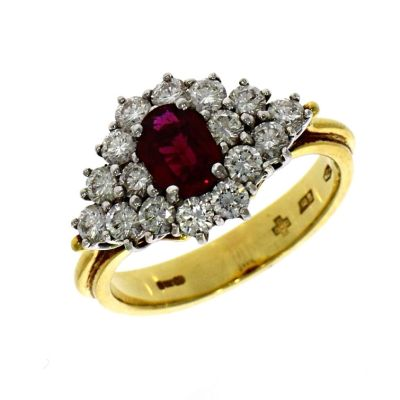 Pre Owned: 18ct Yellow Gold 0.87ct Ruby and Diamond Cluster Ring