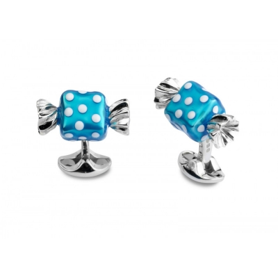 Deakin & Francis Blue Square Sweet Cufflinks with White Polkadots