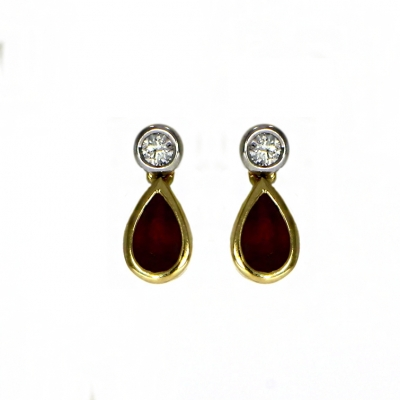 18ct White And Yellow Gold Ruby And Diamond Earrings