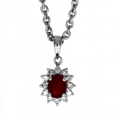 18ct White gold Ruby And Diamond Cluster Pendant