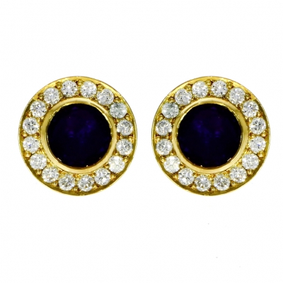 Pre Owned: 18ct Yellow Gold Amethyst And Diamond Round Cluster Earrings