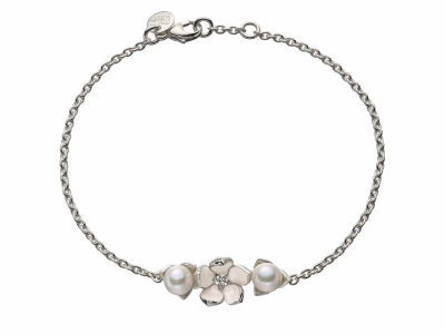 Shaun Leane Silver Single Flower Bracelet with Diamond and Pearls