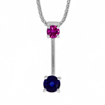 18ct White Gold Pink And Blue Sapphire Drop Pendant