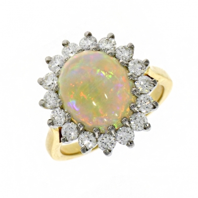 18ct Yellow Gold 3.42ct Opal and Diamond Cluster Ring