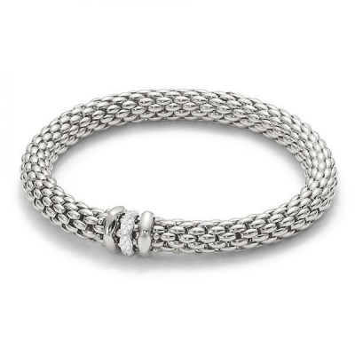 Fope Flex'It Love Nest 18ct White Gold 0.19ct Diamond Bracelet