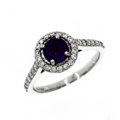 Pre Owned: Platinum Amethyst And Diamond Halo Ring