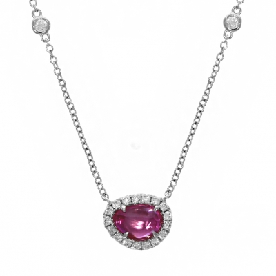 18ct White Gold Rose Cut 0.73ct Pink Sapphire And Diamond Pendant
