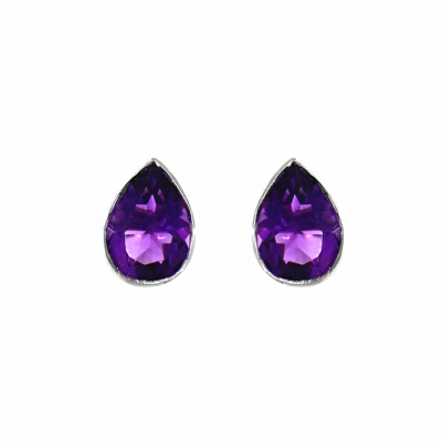9ct White Gold 1.25ct Pear Cut Amethyst Stud Earrings