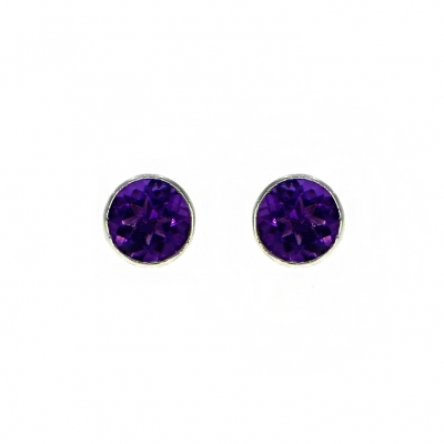 9ct White Gold Amethyst Rub Over Set Stud Earrings