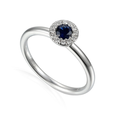 18ct White Gold 0.18ct Sapphire And Diamond Halo Daisey Ring