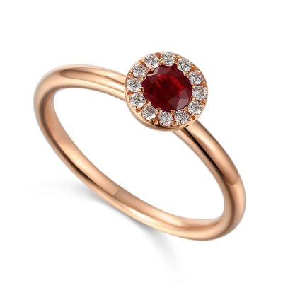 18ct Rose Gold 0.18ct Ruby And Diamond Halo Daisey Ring