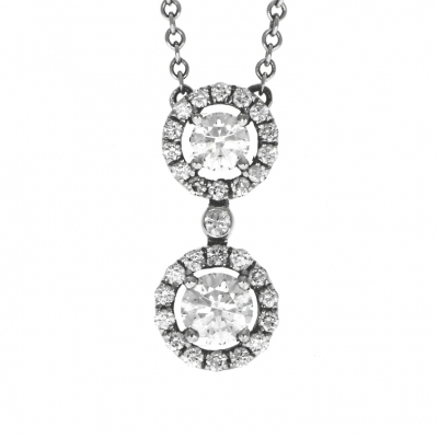 18ct White Gold 0.68ct Double Cluster Pendant