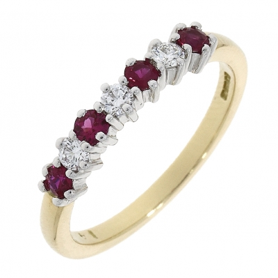 18ct Yellow Gold Ruby and Diamond Eternity Ring