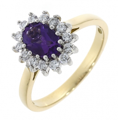 18ct Yellow Gold Amethyst and Diamond Cluster Ring