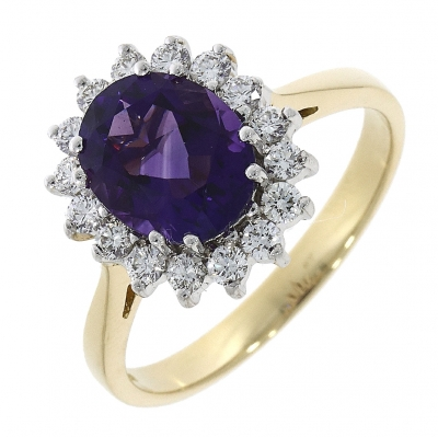 18ct Yellow Gold 1.80ct Amethyst and Diamond Cluster Ring