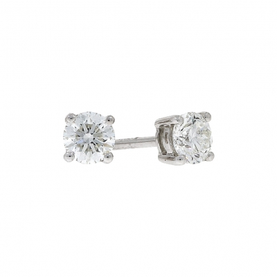 18ct White Gold 0.84ct Brilliant Cut Diamond Stud Earrings