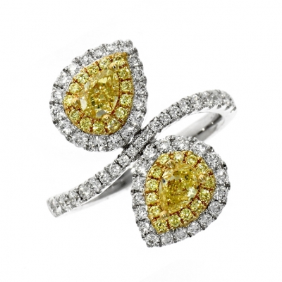18ct White Gold Yellow Diamond Cross Over Cluster Ring