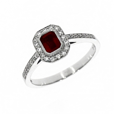 18ct White Gold 0.45ct Ruby and Diamond Cluster Ring